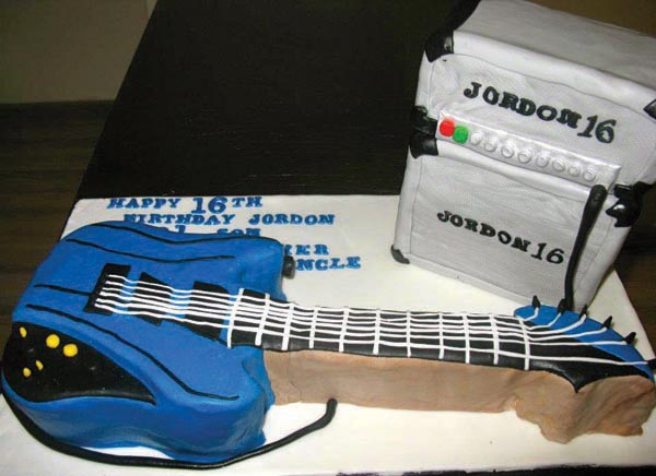 guitar birthday cake from grange bakery, grange over sands, cumbria