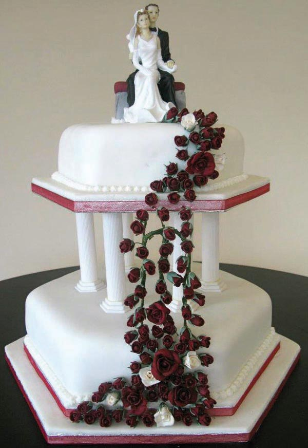 Red Roses Bride and Groom Wedding Cake from Grange Bakery