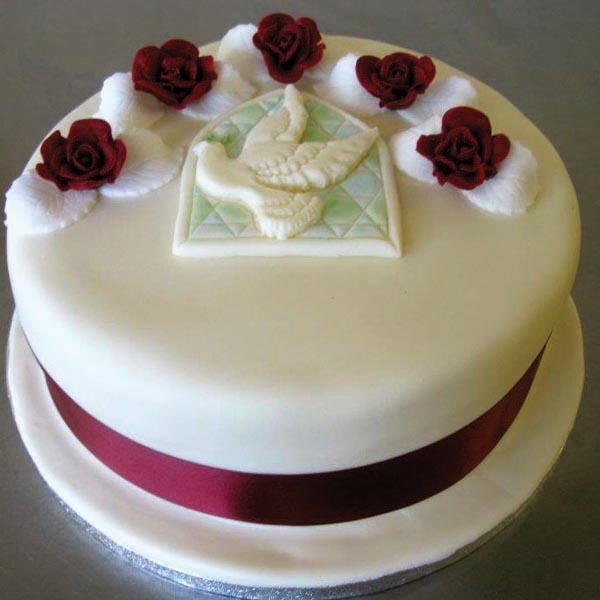 Dove and Red Roses Wedding Cake from Grange Bakery