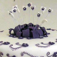 Purple and white modern wedding cake at Grange Bakery, Grange Over Sands